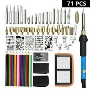 71 Pcs Wood Burning Pen Set Stencil Soldering Tips Tool Pyrography Craft Kit