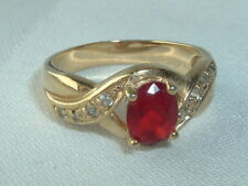 RED & WHITE RHINESTONE COCKTAIL RING SIZE 9