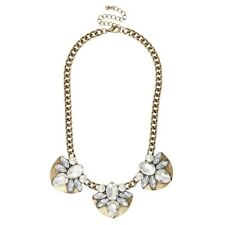 NEW Antiqued Goldtone Crystal & Simulated Pearl Half-Crescent Statement Necklace