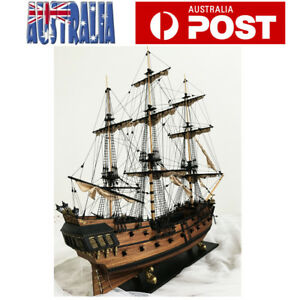 60cm Black Pearl Ship Assembly Model DIY Kits Wooden Sailing Boat Toy Gifts AU