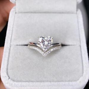 Gorgeous Women White Sapphire Heart Jewelry 925 Silver Wedding Rings Size 8