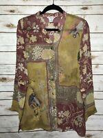 Citron Santa Monica Small Silk Blouse Sheer Crane Oriental Print Asian Isnpired