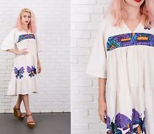 Vintage 70s Cream + Purple Geometric Print Dress Midi Hippie Boho Embroidered M