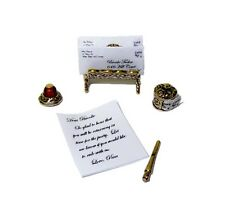 Brooke Tucker Victorian Desk Set w Fountain Pen and Inkwell Dollhouse Miniatures