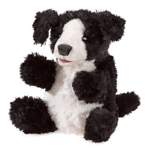 NEW PLUSH SOFT TOY Folkmanis 3125  Black & White Dog Full Body Hand Puppet