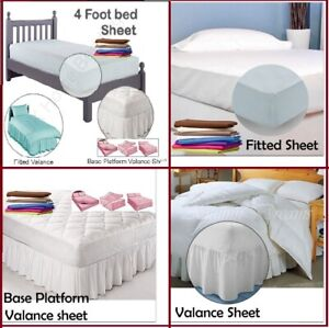 Luxury Deep Fitted Valance Base Platform 4 Feet Bed Sheets 100% Cotton All Color