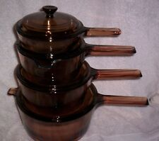 8 PC CORNING VISIONS AMBER COOKWARE VISION WARE GLASS VISIONWARE POT KETTLE