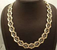 """18"""" Technibond Double Curb & Circle Chain Necklace 14K Yellow Gold Clad Silver"""