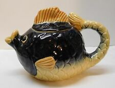 Fish with Puckered Lips Teapot Pitcher Dark Purple and Yellow Vintage