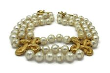 Valentino Gold Pearl Choker Necklace 17 Inches Long Runway Haute Couture