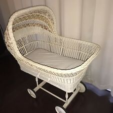 Vintage White Wicker Bassinet with Stand Wheels Baby Rattan