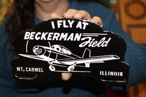 Beckerman Field Airplane Airport License Plate Topper Porcelain Metal Sign