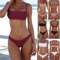 Women Bikini Sets Padded Bra Tops Bandeau Bottoms Swimwear Swimsuit Bathing Set