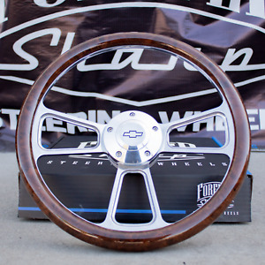 """14"""" Billet Steering Wheel + Adapter Chevy 69-94 - Burlwood Wrap and Horn Button"""