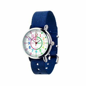 EasyRead Time Teacher Rainbow Face Past & To Watch - Navy Strap (ERW-COL-PT-NB)