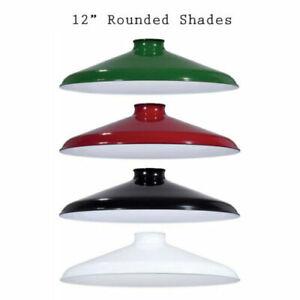 "Porcelain Enamel Shade: 12"" Rounded Metal shade, 2.25"" fitter for Pendant Lights"
