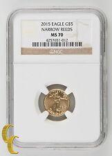 2015 $5 Gold 1/10 oz American Eagle Coin Narrow Reeds NGC MS-70 .900