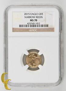 2015 Gold 1/10 oz American Eagle Coin Narrow Reeds NGC MS-70 .900