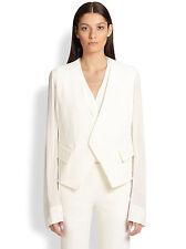 NWT $1695 DONNA KARAN NEW YORK Wool Envelope Colarless Jacket Georgette Sleeve,8