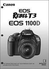 Canon REBEL T3 EOS 1100D Digital Camera User Instruction Guide  Manual
