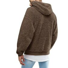 Men's Hooded Plush Hoodie Lamb Wool Winter Warm Tops Pullover Occident Casual