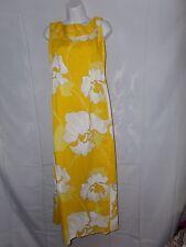 Ladies Size S Malihini Hawaiian Vintage Drape Back Maxi Dress Yellow Floral