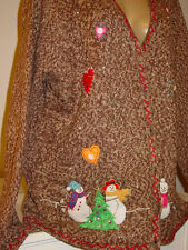 Reference Point brown tweed knit sweater cardigan snowman hearts Christmas-2X