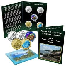 2012 Acadia National Park Quarter Collection Colorized, Gold Plated Hologram, BU