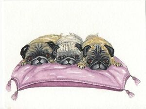 Pug  dog  3 dogs cushion Watercolour and ink Painting  by Bridgette Lee