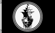 BLACK SEA PIRATE SHIP FLAG 3x5 wall banner flags 3 x 5 large pirates sail ships