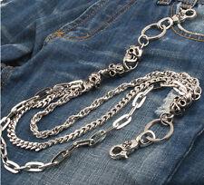 3 Roof Multi Skull Gothic Biker Trucker Jeans Wallet Key Chain CS04