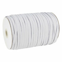 "100yds/Roll 1/2"" Flat Elastic Cords Knit Threads Braided Bands Ropes White 12mm"
