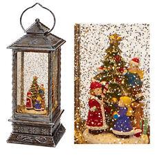 Premier Decorations 27cm Christmas Glitter Water Spinner Lantern Snowman