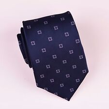 Navy Four Dice Lucky Boss 9CM Woven Tie Formal Business Designer Luxury Fashion