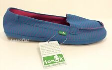 SANUK IZABELLA SLIP ON FLATS SHOES CANVAS BLUE WOMEN'S US SIZE 11 -NWT