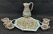 Charming Vintage beadwork teaset, with jug, 6 cups & tray, 9cm tall, suit dolls