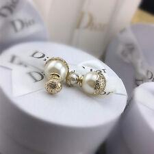 Boucles d`Oreilles Clous Puce Doré Double Perle Blanc Vintage Baroque Class CC 8