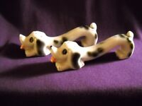 """Vintage Black and White Dog Salt and Pepper Shakers, 4"""" Long"""