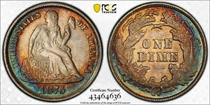 1876-CC SEATED LIBERTY DIME PCGS MS63+