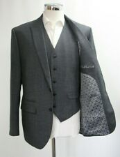 Men's Unbranded 3pc Suit in Microchecked Grey (40R)..Sample 4713