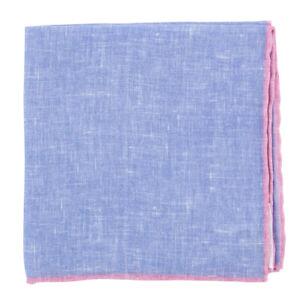 $100 Fiori Di Lusso Blue Solid Linen Pocket Square -  x  - (811)