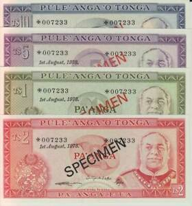 1978 Tonga Four Note Specimen Set Pick Cs1 Unc