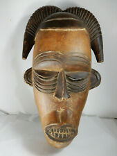 Antique African Wood Mask with Teeth & Horns