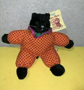 "Older Russ Luv Pets Shadow Halloween Black Cat 8"" Plush Stuffed Animal #1608"