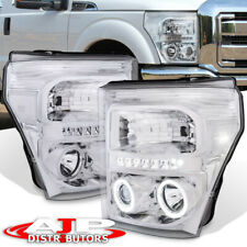 Chrome Clear Halo LED Projector Head Lights For 2011-2016 F250 F350 Super Duty