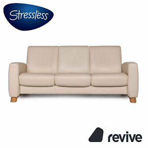 Stressless Arion Leather Sofa Cream Three-Seater Function Relaxfunktion Couch #