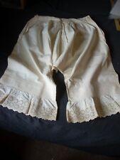 "Antique Ladies White Linen Pantaloons Bloomers Pintucks  Waist 28""  VG"