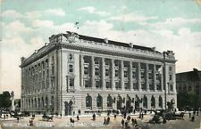 Cleveland Ohio~New Post Office~Statues~Horse & Buggy~Lots of Folk in Street 1909
