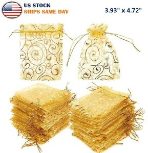 100Pcs Organza Wedding Party Favor Bags Golden Decor Gift Jewelry Candy Pouches