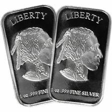 Lot of 2 - 1 Troy oz Buffalo .999 Fine Silver Bar Sealed